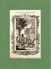 SAMUEL WALE-MURDERING THE DRUIDS & BURNING THEIR GROVES -RARE COPPERPLATE (1770)