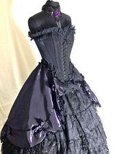 Raven Gothic Steampunk 4 Pcs Purple Outfit Choker,Skirt Corset,  & Hoop 12/14