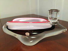 Vintage CZECH ART-GLASS CANDLE-HOLDER DISPLY BOWL ASHTRAY Amethyst Sommerso