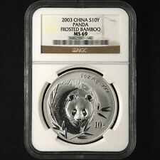 2003 frosted bamboo 1oz panda silver coin S10Y NGC MS69