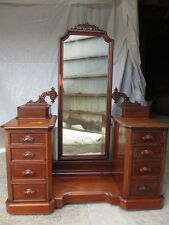 Superb Victorian Mahogany cheval mirror dressing table chest (ref 305)