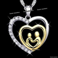 I Love You Gold Heart Necklace Xmas Gift For Her Wife Mum Boy Girl Son Dad Women