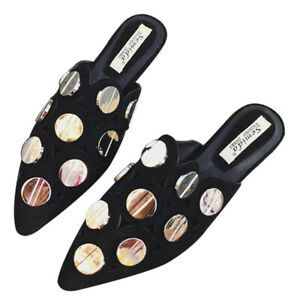 Nightclub Style Sequin Decoration Pointed Toe Flat Black Slippers Summer Sandals