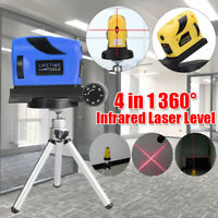 4 in 1 360° Rotary Infrared Laser Level Micro Tuning Self Levelling Cross-Line