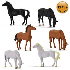 12pcs Model Trains O Scale Painted PVC Horses 1:43 Farm Animals Desktop Decor