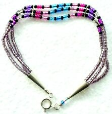HAND MADE STERLING SILVER & COLORED GLASS BEAD BRACELET