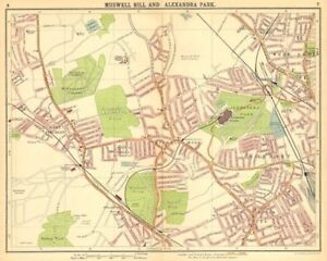 LONDON N. Muswell Hill Alexandra Park Wood Green Finchley Crouch End 1921 map