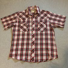Wrangler Western Fashion Short Sleeve Snap Shirt Large Plaid Pearl Pockets