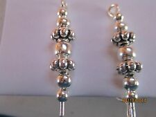 Pair Silver With Different Silver Beads Ear Vines, Sweeps, Pins Earrings #15