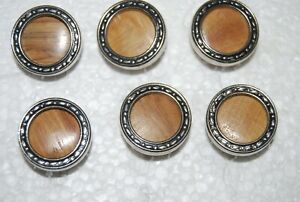#21 Vintage, Metal and Wood, Shank, Craft, Sewing, Buttons, x6