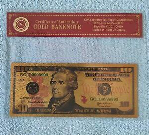 USA  10 Dollars 2004 Federal Reserve Note 24Karat Gold Foil Polymer Banknote COA