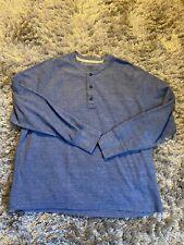 L.L. Bean Mens Blue 1/4 Button Long Sleeve Thermal Shirt Sz XL Regular