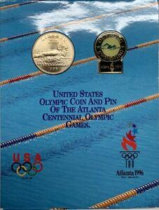 1996 S Atlanta Olympic Silver Half Dollar Swimming and Pin Set OGP