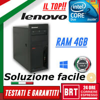 PC COMPUTER FISSO LENOVO M57E TOWER CPU CORE 2 DUO RAM 4GB +WIN10 PRO KEY OTTIMO