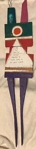"Brian Andreas Original Wood Sculpture Signed 1996. ""Far Enough Together"" 35"""