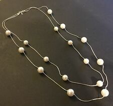 "NE 05 Silver & sim white sim pearl double chain necklace 30"" - 36"" Plum UK BOXED"