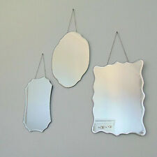 Set Of 3 Mirrors Wall Hanging Chain Trio Shabby Vintage Chic Frameless Glass