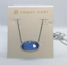 NWT Kendra Scott Delaney Pendant Necklace In Periwinkle Cat's Eye / Silver