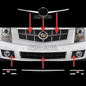 fits Cadillac SRX 2010-2012 CHROME Snap On Grille Overlay Trim Insert Top Bottom