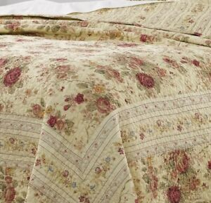 NEW!~ COZY COTTAGE CHIC SHABBY PINK RED GREEN BLUE YELLOW ROSE LEAF QUILT SET