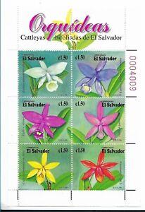 EL SALVADOR 1999, ORCHIDS, FLOWERS, SCOTT 1517 MINIATURE SHEET MINT NH