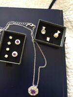 Pendant on Chain plus 2 interchangeable pendants  &  3 matching earring sets