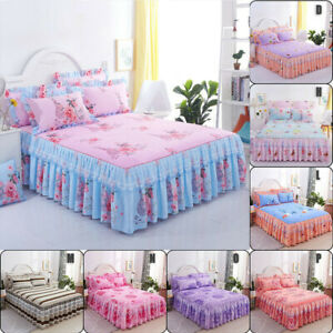American Floral Bed Skirt Bedspread /Pillowcase Dust Ruffle Twin Queen King Size