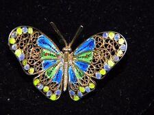 Vtg 800 Silver Vermeil Gold Wash Enamel Filigree Swirl Butterfly Pin Brooch Blue