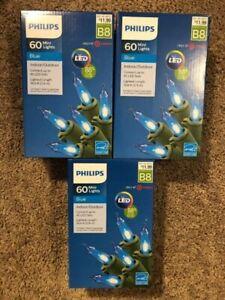 3 Boxes Philips Mini String Christmas Lights Blue LED 60 ct. 180 Lights