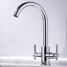 Traditional Twin Lever Chrome Brass Kitchen Sink Deck Mixer Taps Monobloc Faucet