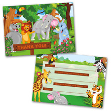 10 Kids Thank You Cards Jungle Animals Themed and 10 Envelopes
