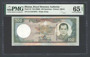 Bhutan 100 Ngultrum ND(2000) P25 Uncirculated Grade 65