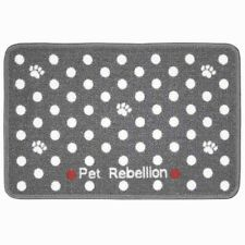 Contemporary 60cm Washable Grey Polka Dot Pet Dog Feeding Food & Water Bowl Mat
