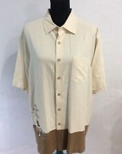 Quicksilver Mens Size Lg 100% Silk S/S Button Front Hula Girl Shirt
