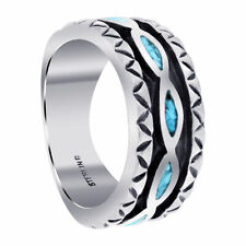 925 Sterling Silver Turquoise Gemstone Inlay Southwestern Band Ring Size 5