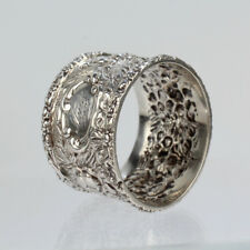 Antique Stieff Sterling Silver Repousse Napkin Ring - Rose SL