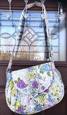 Vera Bradley Watercolor Hipster Crossbody Purse Bag Floral Purple Green Blue