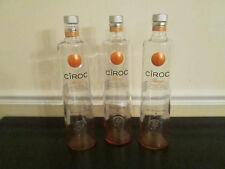 Lot of 3 Empty 1 Liter Ciroc Mango Vodka Bottles,  With Caps