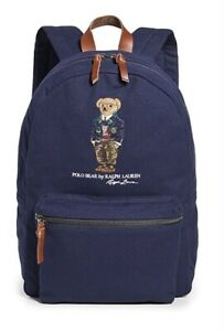 Polo Ralph Lauren Cotton Canvas Embroidered Signature Bear Varsity Backpack NEW