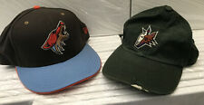 Nhl vintage Phoenix Coyotes hats New Era 7 3/8 & Pro Player Old Logo Adj strap