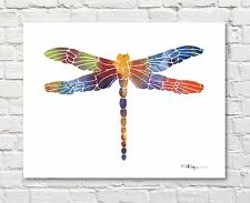 """Dragonfly Abstract Watercolor Painting 11"""" x 14"""" Art Print by Artist DJ Rogers"""