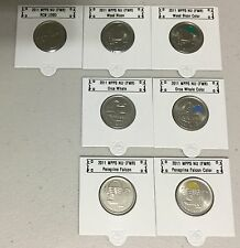 CANADA 2011 New Complete set 7 x 25 cents (BU directly from mint roll)