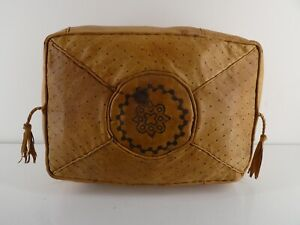 VINTAGE BOHO AFRICAN MOROCCAN LEATHER POUFFE RECTANGLE H20