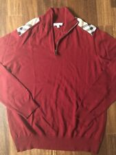 Burberry Men's 1/2  Zip Pullover Sweater Red Size XL