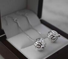 Pretty 925 Silver Filigree Ball Long Dangle Drop Earrings - New - 47