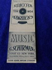 G SCHIRMER MUSIC FOR ALL RECORDS NEW YORK VINTAGE LIONS MATCHBOOK