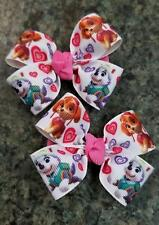 Set of 2 paw patrol Skye everest hair bow toddler girl nonslip clip