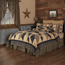 VHC Primitive Cotton Quilt Blanket Bedspread King Queen Twin Tan Star Print