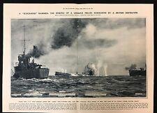 1915 Original 2-Page Newspaper Illustration, British Destroyer sinks U-Boat, WW1