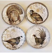 POTTERY BARN SALAD  PLATES TURKEY  PHEASANT QUAIL DUCK SOLD OUT